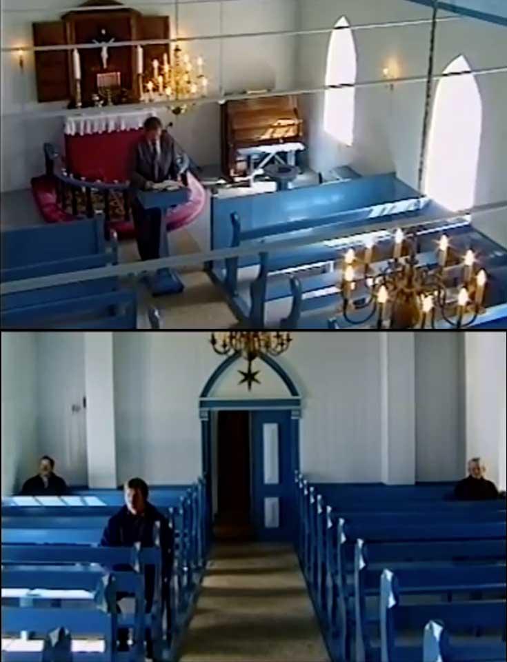 Scene from a church service on Fugloy