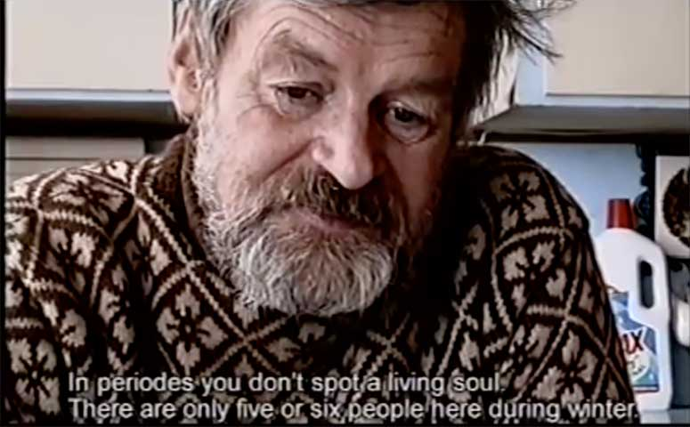 Screen from the documentary where a Fugloy resident (a former sailor) describes the loneliness of the island.