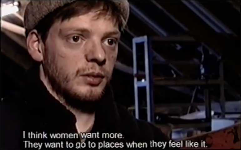 Screen from the documentary featuring Fugloy resident.