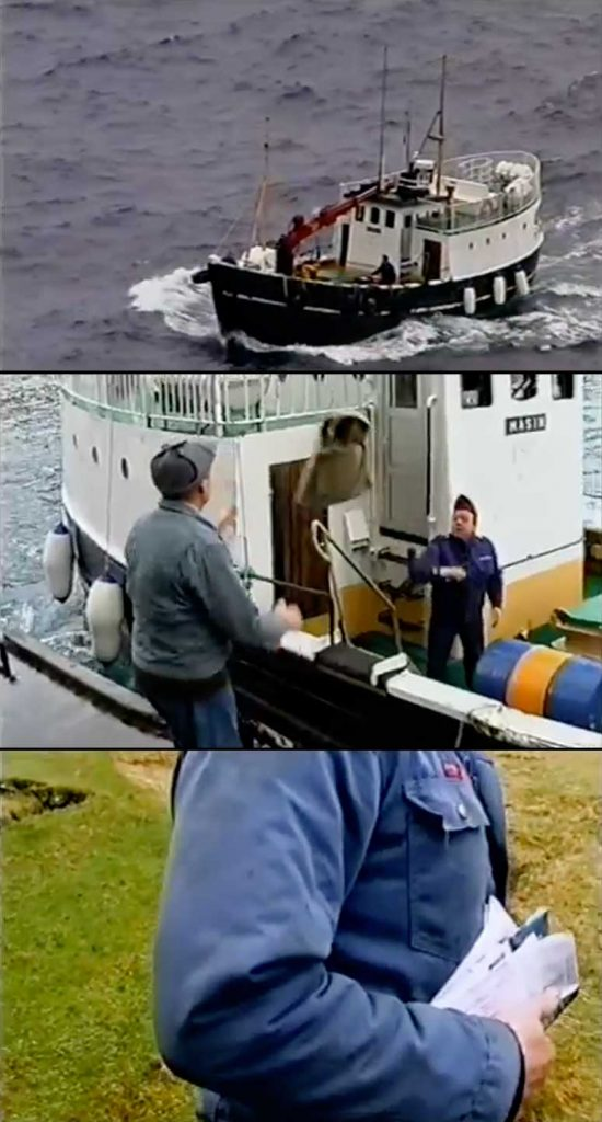 Scenes of the mailboat arriving on Fugloy