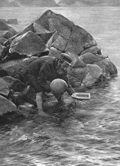 Man launching a St. Kilda mailboat