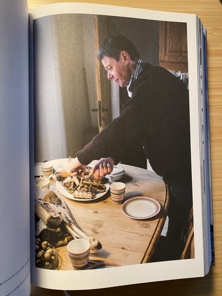 Man eating traditional faroese food at home.