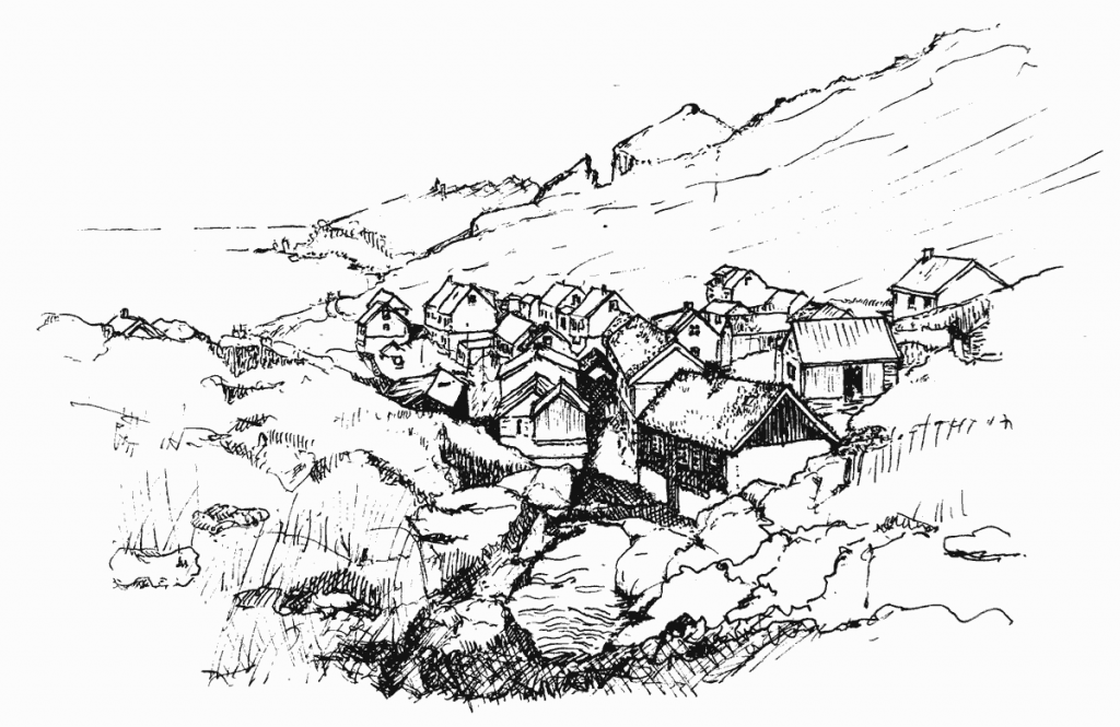 Illustration of the The village on Mykines, from The Land of Maybe book.