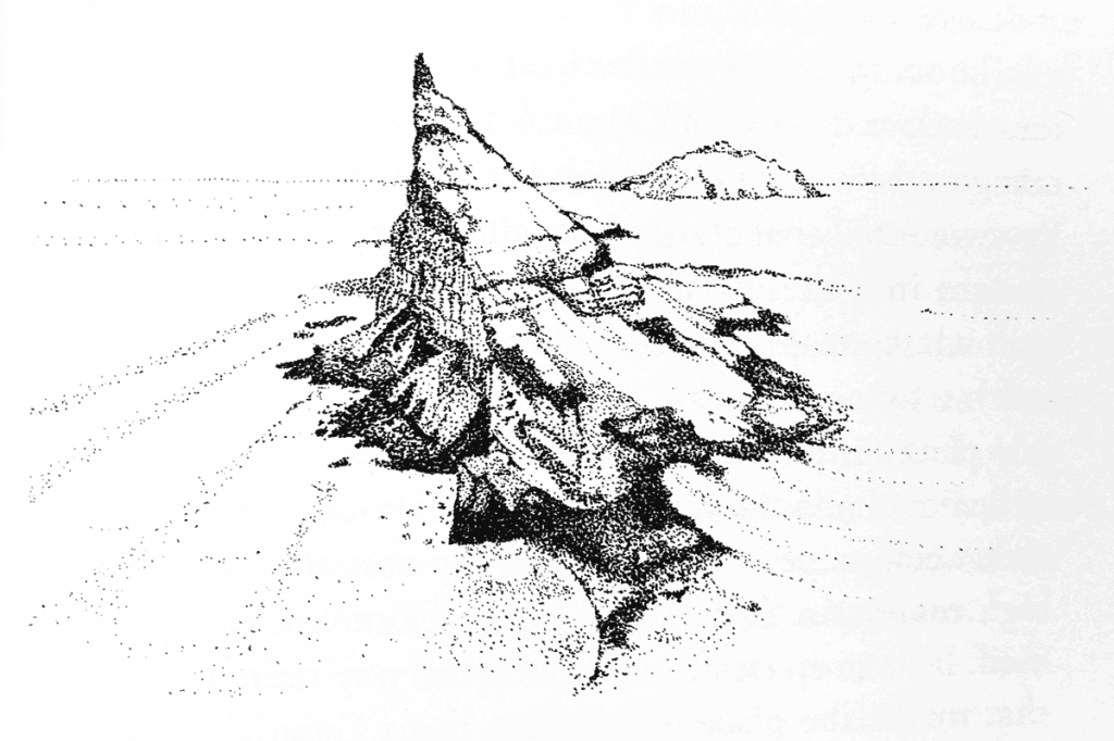 Illustration of the Tindhólmur islet, from The Land of Maybe book.