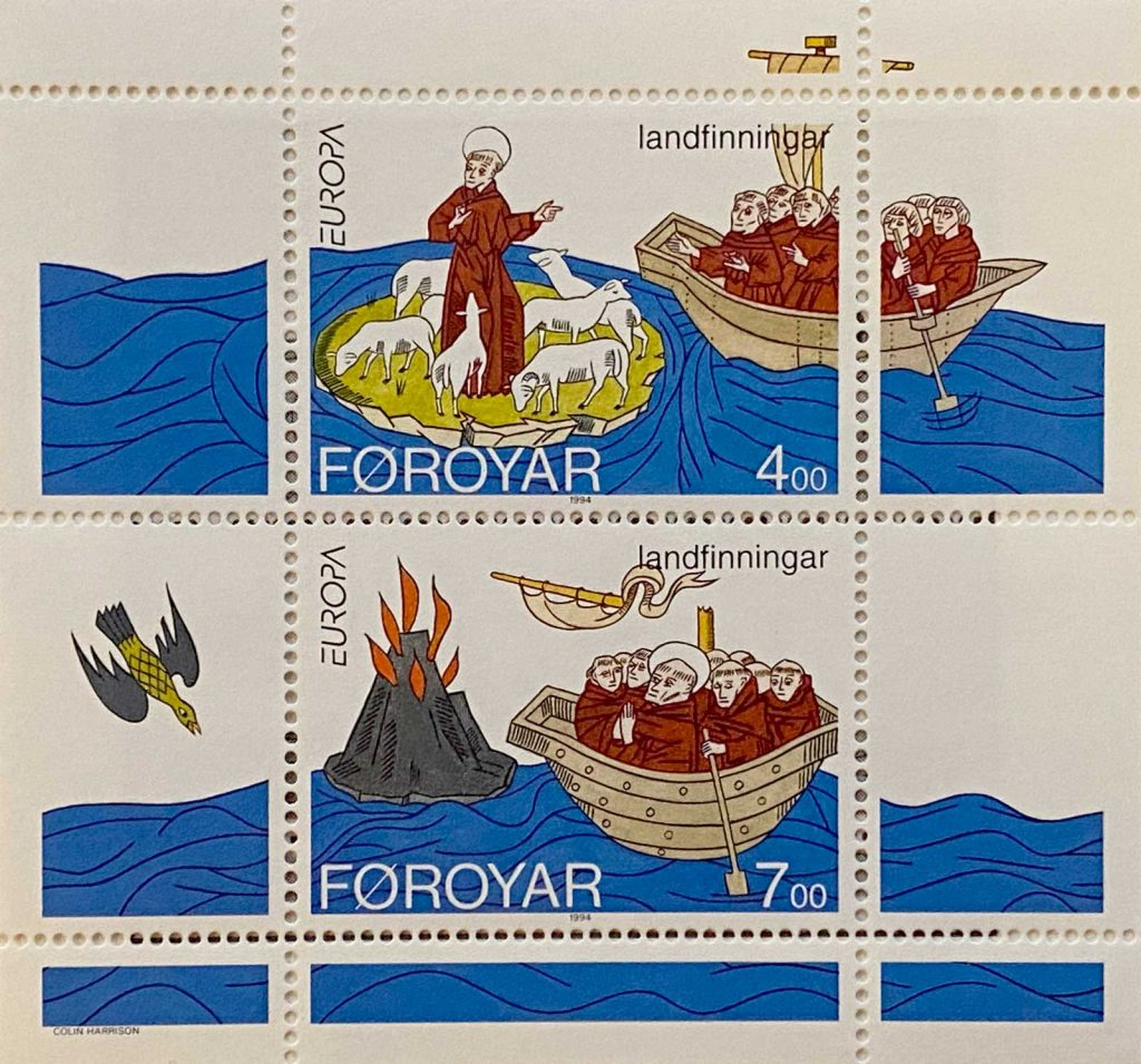 Faroese stamp depicting the travels of St. Brendan to the Faroe Islands and Iceland.