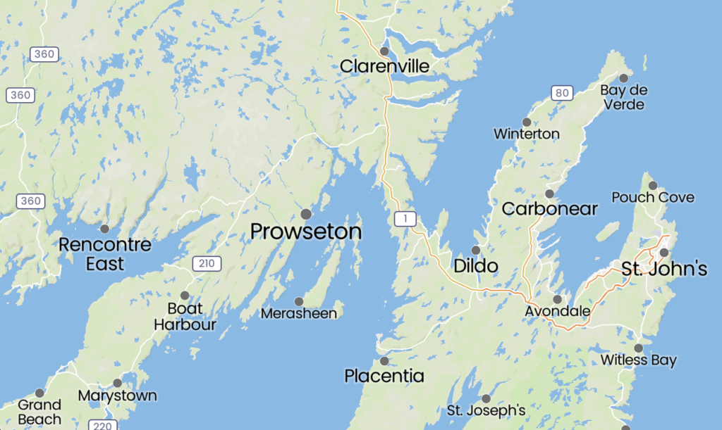 Map of Prowseton, Newfoundland