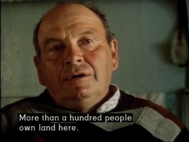 A man, with the caption: More than a hundred people own land here.
