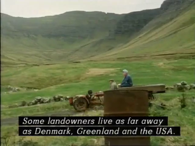 A man drives a truck with the caption: Some landowners live as far away as Denmark, Greenland, and the USA.