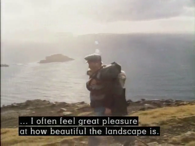 A postal carrier walking along a mountain top with the caption: I often feel great pleasure at how beautiful the landscape is.
