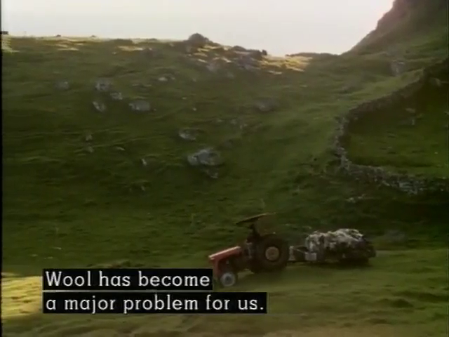 A tractor with a trailer full of wool with the caption: Wool has become a major problem for us.